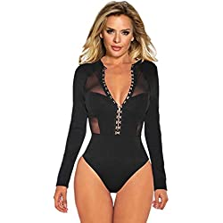 comeondear Femme Body Sexy Grande Taille Manches Longues Dos Nu Teddy Bodysuit Haute Col V Dentelle Clubwear - noir 1- XL