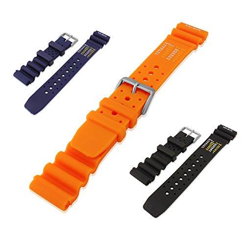 Mi-Watch N.D. LimitsUhrenarmband aus Gummi, Wasserdicht, ideal für Taucher und Wassersportler, Orange, 22 mm