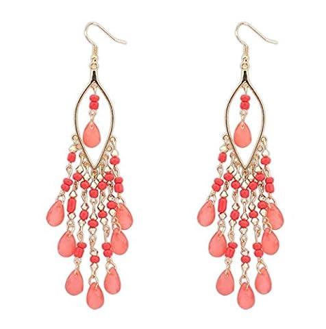 jiaqinsheng 1Paar Frauen Lady Charme Bohemian Perlen die Tropfen Baumeln Quasten Ohrringe (Bead Tropfen Baumeln Ohrringe)