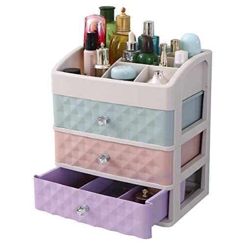 3-schubladen-desktop (TOPBATHY Kosmetik Organizer mit 3 Schubladen Kunststoff Make-Up Halter Desktop Multifunktionale Aufbewahrung (Bunt))