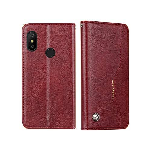 Coque pour Xiaomi Mi A2 Lite/Redmi 6 Pro, NTakia Housse à rabat Flip PU Cuir Premium Etui Portefeuille Magnétique Antichoc Case Cover Coque de Protection pour Xiaomi Mi A2 Lite/Redmi 6 Pro - Bourgogne Roug