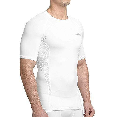 COOLOMG Herren Jungen Funktionsshirt Compression Ärmellos Fitness Training Sport Running Weiß XS