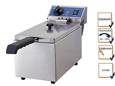 Électrique professionnel en acier inoxydable-friteuse - 2000 w, 6 litres, thermostat de sécurité, wF - 061 gGG