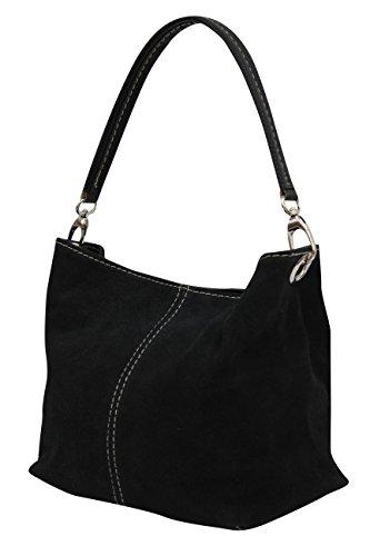 AMBRA–Bolso de cuero para mujer, WL807., color Negro, talla M