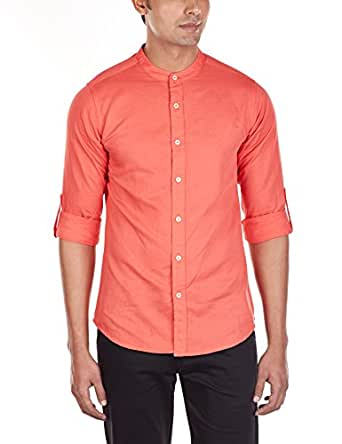 LA Seven Men's Linen Casual Shirt (10051_Orange_44)
