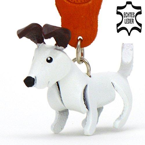 Jack Russell Terrier Jacky - Deko Schlüsselanhänger Figur aus echtem Leder in Zubehör finder / Kuscheltier / Plüsch-tier von Monkimau in weiß mit braunen Ohren - Dein bester Freund. Immer - Leder-jacke-kostüm-ideen