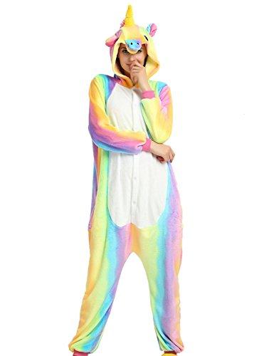 Pigiama kigurumi tuta costume animale unicorno per carnevale, halloween, festa, cosplay monopezzo in flanella, morbido e comodo ... (altezza 148cm-158cm/s, unicorno arcobaleno 1)