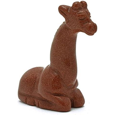 Intagliato mano preziosa animale Sitting Giraffe - Goldstone S-544