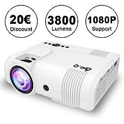 Projecteur DR.Q, L8 Mini Projecteur 3800 Lumen, Videoprojecteur prend en charge 1080P HD, Compatible avec HDMI VGA AV USB TF, Home Théâtre Projecteur, Blanc.