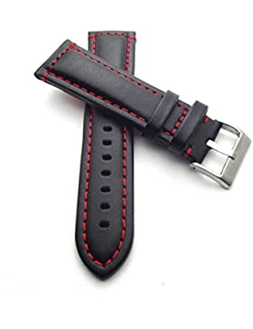 24 mm Uhrenarmband Kalbsleder schwarz Glatt mit rote Naht
