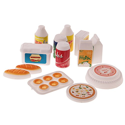 Sharplace 12-teilig mini Lebensmittel Set, Küche Zubehör für Barbie Kelly Puppenhaus Zubehör, Spielzeug Geschenke für Kinder (Puppenhaus Kelly)