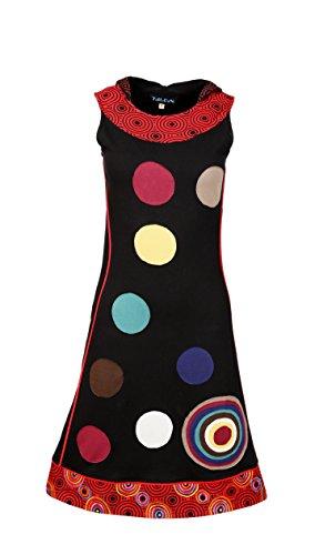 Vestito delle donne di cotone senza maniche con la patch design colorato cerchio Nero
