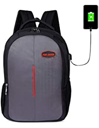 FUR JADEN USB Charging School and College 25 Ltrs Grey Casual Backpack (BM36_GreyRed)