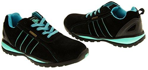 Northwest Territory Ottawa Daim Huile Résistant embout d'acier Chaussures Sécurité Femmes Noir et Bleu (Vert)