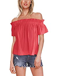 ISASSY Women's Summer Off Shoulder Casual Loose Top T-Shirt