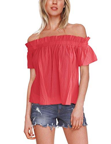 ISASSY Damen Schulterfreies Oberteil Sommer Bluse T-Shirt Party Shirt Tops (T-shirt Schulterfreies)