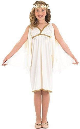 Mädchen Weiß Gold Ägyptische Kleopatra Römische Toga büchertag historisch Kostüm Kleid Outfit 4-12 Jahre - Weiß, 8-10 Years (Römische Kleid Mädchen)