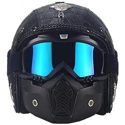 Blue-Yan Casques intégraux de Moto pour Hommes Femmes, Casques de cyclotourisme Vintage Cruisers Scooter Chopper