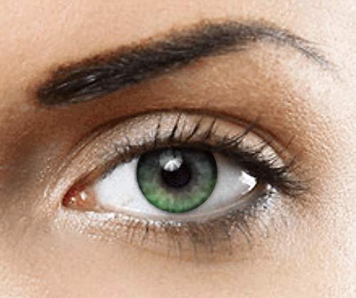Phantasy eyes® hollywood lenti a contatto colorate - usura annuale (1 paio) 10 colori a scelta - senza diottrie + custodia per lenti gratis (verdi)