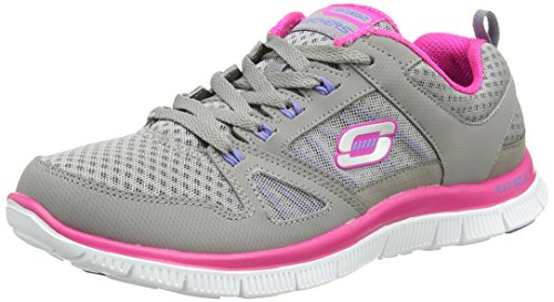 Skechers Flex Appeal Adaptable, Baskets Basses Femme Gris (GYPK)