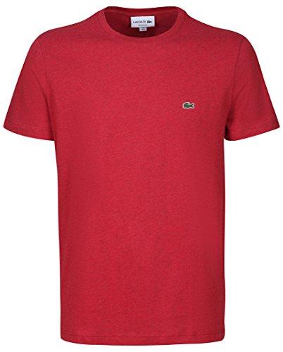 Lacoste TH2038 Klassisches Herren Basic T-Shirt, Rundhals, Kurzarm, Regular Fit, für Freizeit und Sport, 100% Baumwolle Rot (Revolution Chine Phd), EU 7