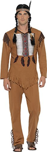 Smiffy's 45509M - Herren Indianer Kämpfer Kostüm, Oberteil, Hose und Haarband, Größe: M, (Ideen Kostüme Indianer)