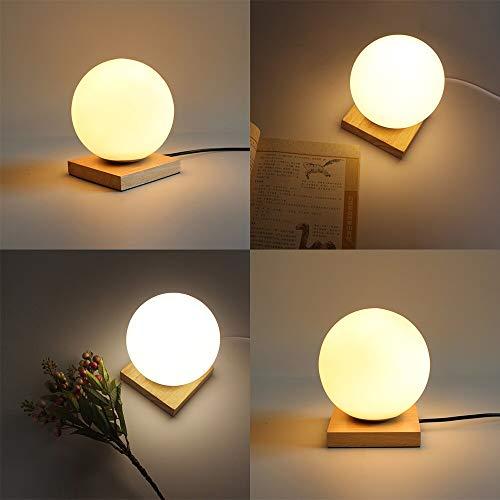 FGHHT Lampara de Mesa Regulable Lámpara de Mesa en Forma de Luna 3D Sala de EstarCasa Deco Bola de Cristal Lámpara con Base de Madera para Oficina Vestíbulo Luz Nocturna