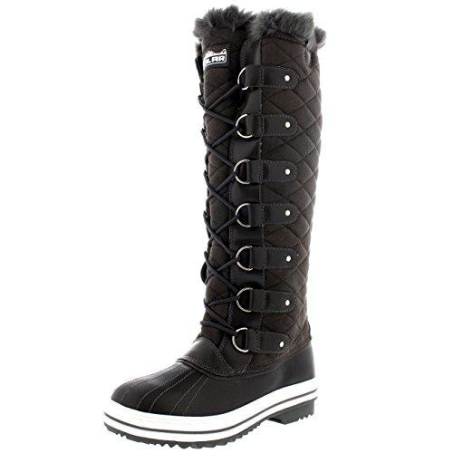 Polar Damen Quilted Knie Hoch Ente Pelz Gefüttert Regen Schnüren Dreck Schnee Winter Stiefel - Grau Wildleder - GRS38 AYC0048 (Stiefel Schnee Wildleder)
