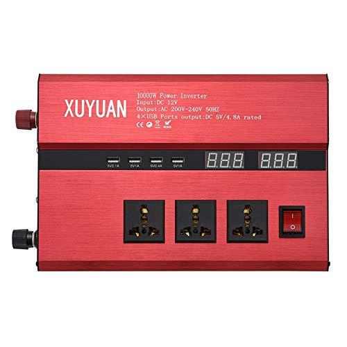 10000 Watt Solar Power Inverter USB LED-Anzeige AC/DC-Sinuskonverter - rot (12V bis 220-240V) 240v Inverter