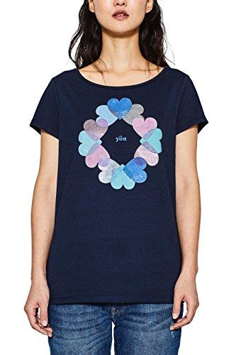 ESPRIT Damen T-Shirt 018EE1K007, Mehrfarbig (Navy 400), Large