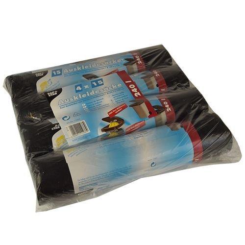 60 Auskleidesäcke für Mülltonnen 240 l 135 cm x 120 cm schwarz -