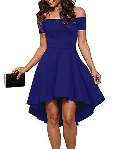 Damen Schulterfreies Kleid Elegant Skaterkleid Kurz Cocktailkleid Asymmetrisch Abenkleid Festlich Partykleid (44,