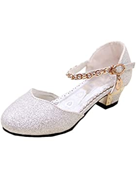 Scothen Zapatos princesa párrafo lentejuelas zapatos de lazo del traje bailarina Carnival festivas para niños...