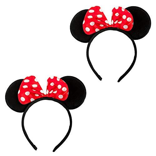 Haarreifen mit Maus Ohren und Schleife Schwarz Rot Weiß Gepunktet Mouse Haarreif für Fasching Karneval Kostüm Motto Party ()