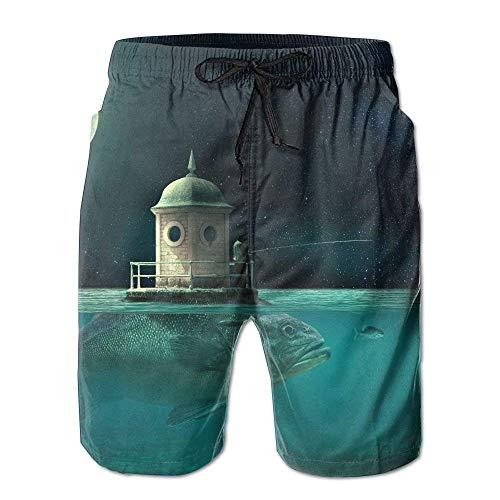 Lands End Jungen Shorts (LarissaHi Art Fish Moon Sea Ocean Männer/Jungen Casual Shorts Badehose Badebekleidung Elastische Taille Strandhose mit Taschen L)