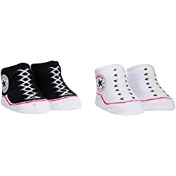Converse 2 Pack Booties Calcetines, Negro (Black), 0/6 meses (Talla del fabricante: 0-6M) para Bebés