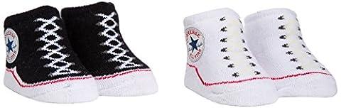 Converse Baby-Boys 2 Pack Booties Plain Socks, Black, 0-6 Months