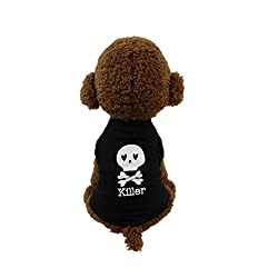 Pet Clothes, Hmeng Skull Killer Printed T-shirt Puppy Cat Cotton Vest Harness Sleeveless Summer Dog Clothes For Small Dogs from Hmeng