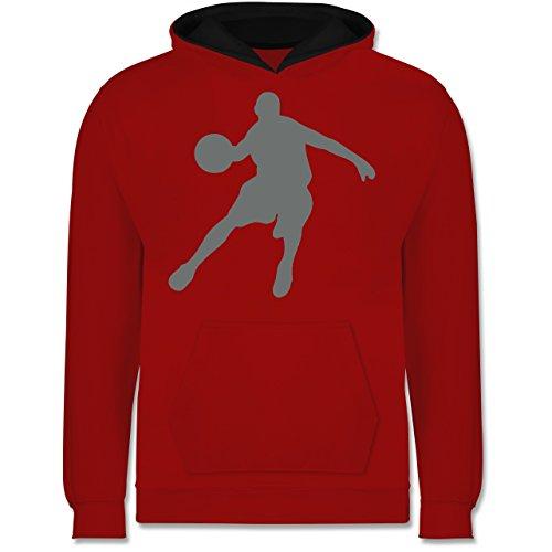 Sport Kind - Basketballspieler - S (104) - Rot/Schwarz - JH003K - Kinder Hoodie Kontrast