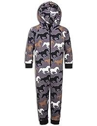 Pijama Infantil de una Pieza en Tejido Muy Suave Estampado de Caballos
