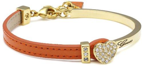 Guess ubs21305 - bracciale da donna, metallo placcato oro e pelle