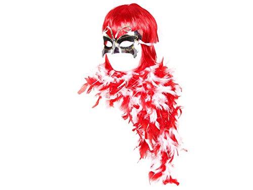 Karneval Verkleidung 20er Jahre Kostüm Outfit Perücke Bob Kurzhaar Federboa Fasching Stola Maske KV-27 ALSINO