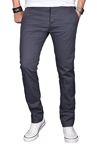 A. Salvarini Herren Designer Chino Stretch Stoff Hose Chinohose Regular Slim mit Elasthananteil AS024 [AS024 - Anthrazit - W33 L32] (Chino Hose Slim)