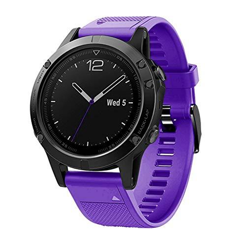 Momola für Garmin Fenix 5/5 Plus Smart Watch Ersatz Silikon Uhrenarmbänder Armbänder,Wasserdichtes Sport Band Strap Armband Uhr Band 140-220mm (Lila)
