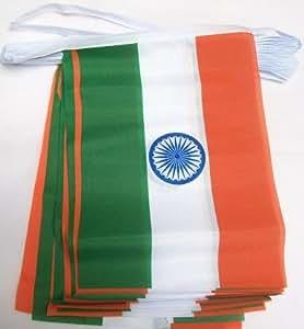 9 m 32 India Banderole à fanions en tissu Motif drapeau de l'Inde