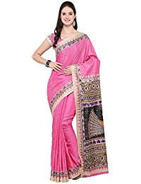 VARAYU Women's Pink Tussar Silk Printed Saree With Unstitched Blouse(541SJ3005D)