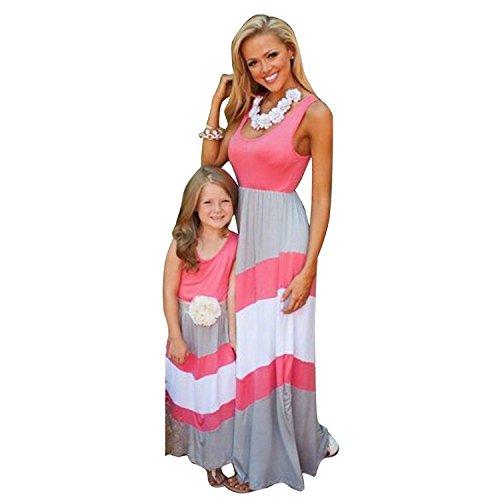 Minetom Sommer- Mode Gestreifte Kleid Beiläufige Familie Kleidung Mädchen Kleid Mutter Und Tochter Beiläufig Boho Ärmelloses Strandkleid Kind Pink 140 -