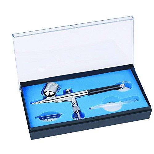 Spray Gun Hobby (NUZAMAS 0.3mm Dual-Action Airbrush Kit Set Air Brush Spray Gun für Make-up Malerei Nail Art Tattoo mit Kunststoff Troppper & Schraubenschlüssel)