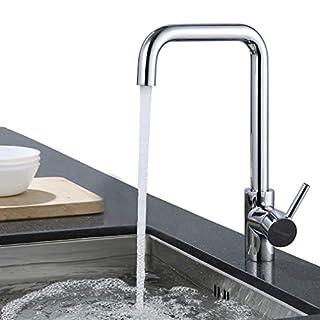 ubeegol 360° Drehbar Wasserhahn Küche Armatur Küchenarmatur Spültischarmatur Spülbecken Spüle Mischbatterie für Küchen, Glänzend