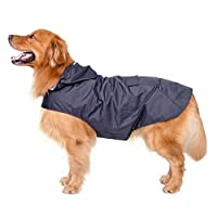 Bwiv Extra Large Hooded Dog Raincoat With Reflective Strips 100% Waterproof Dog Rain Jacket Navy 4XL